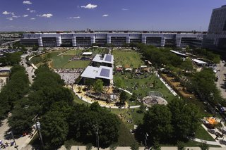 Discovery Green, a 12-acre park located in downtown Houston, opened on April 13, 2008, giving Houstonians a reason to head downtown and promoting urban development and living. Visit Discovery Green online at discoverygreen.com. Image courtesy of the Greater Houston Convention and Visitors Bureau.