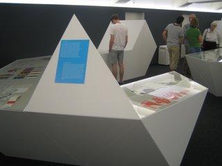 The stark white cases of Alexandra Gübeli's exhibition design mimicked the work's clean geometry.