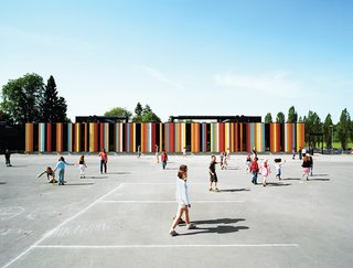 At nearly 80,000 square feet, the Oslo International School is one of Jarmund/Vigsnæs's larger projects. Situated just outside of Oslo, the school was recently renovated, with some 40,000 square feet of new construction. The colored panels suggest a sunny optimism—something the architects hoped to imbue in an educational context.