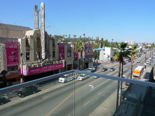 The view from Marty Collins' third-floor unit, looking east onto Hollywood Boulevard.