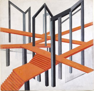 """Alexander Exter's deeply architectural ideas in his """"Construction for a Tragedy"""" from ca. 1925 shows the stripped down forms and expressionistic geometry that would come to take hold in the architecture of Le Corbusier and the like."""