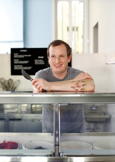 """It's rare to find a friction-free workplace, but Jake Godby can proudly claim he has one. """"The thing about an ice-cream shop,"""" he says, """"is that nobody comes inwith a bad attitude."""" A former pastry chef, Godby owns Humphry Slocombe, a new dessert stop in San Francisco. Already a cult favorite for its signature flavor, Secret Breakfast (bourbon ice cream with cornflakes), the shop is likely to become a niche legend much like the 1970s British farce Are You Being Served?, from which it takes its name."""