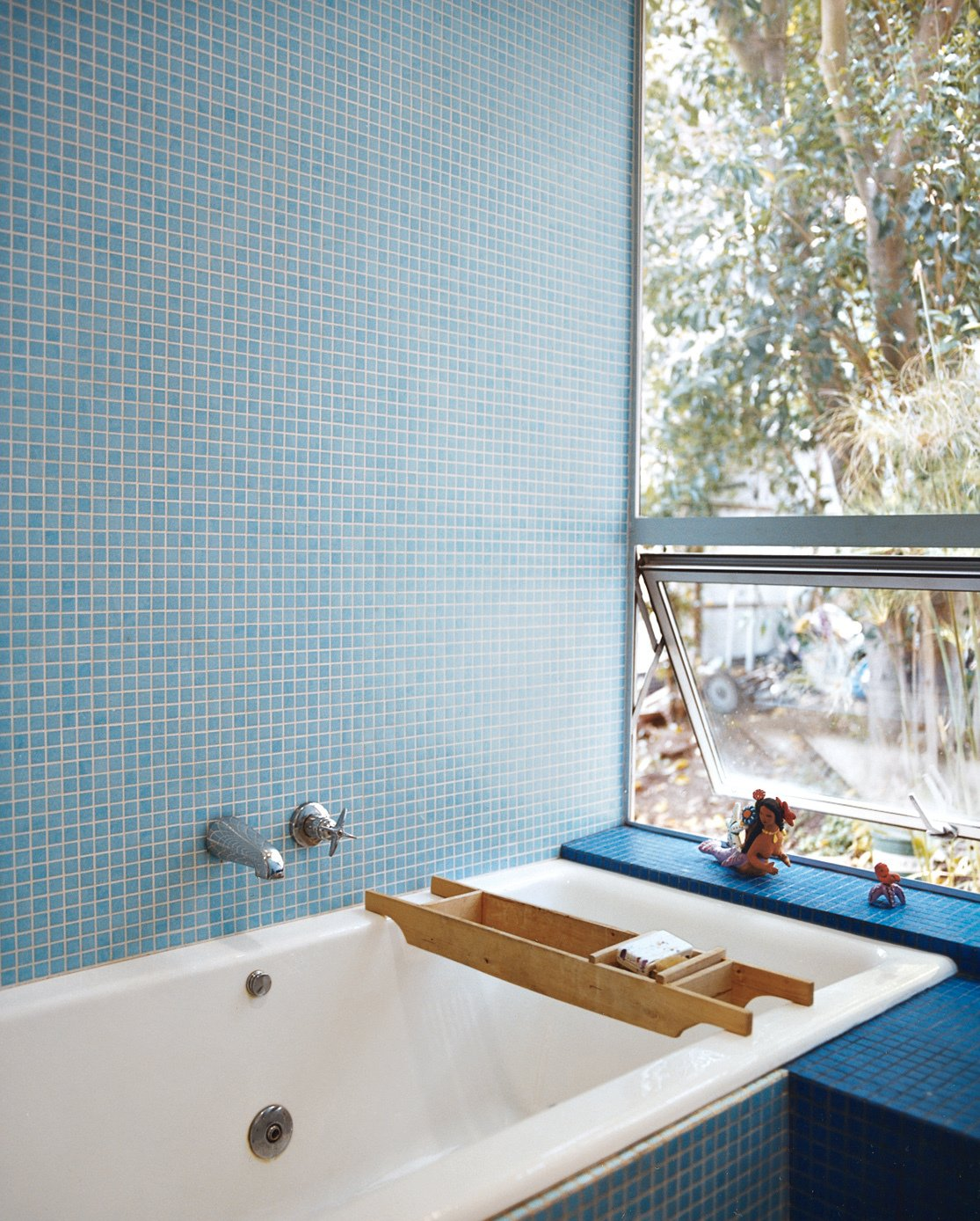Bath Room, Mosaic Tile Wall, and Drop In Tub The tile is by Carter.  Photo 8 of 9 in How This Couple Broke The Rules in a LA Suburb
