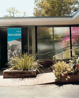 """""""I'm always identified as being the best architectural photographer in the world,"""" declares Shulman. """"I disclaim that. I say, 'One of the best.'"""" The photographer paid $2,500 for his two-acre property, and $40,000 for the Raphael Soriano–designed studio and house, into which he moved in 1950. """"All in cash,"""" Shulman says. """"My mother taught us, 'Never have a mortgage.'"""" Over the ensuing decades, he says, """"I planted hundreds of trees and shrubs, to emulate how I lived as a child [on a farm in Connecticut]."""""""