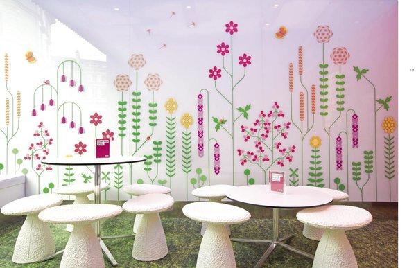 Spread from Design Taste: Snog frozen yogurt shop in London, England. Graphic design by Gerard Ivall and Amanda Gaskin.