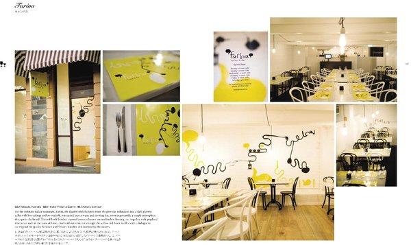 Spread from Design Taste: Farina kitchen and bar in Adelaide, Australia. Graphic design by Hecker Phelan & Guthrie. Interior design by Adriana Stelmach.