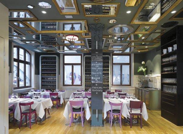 Spread from Design Taste: Bella Italia Weine restaurant in Stuttgart, Germany. Interior design by Ippolito Fleitz Group.