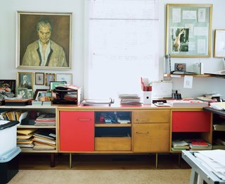 Jens Risom Design offered a wide array of cabinets, which were both functional and stylish with their multicolored paneling. Risom's home is well furnished with the fruits of his still-active career.