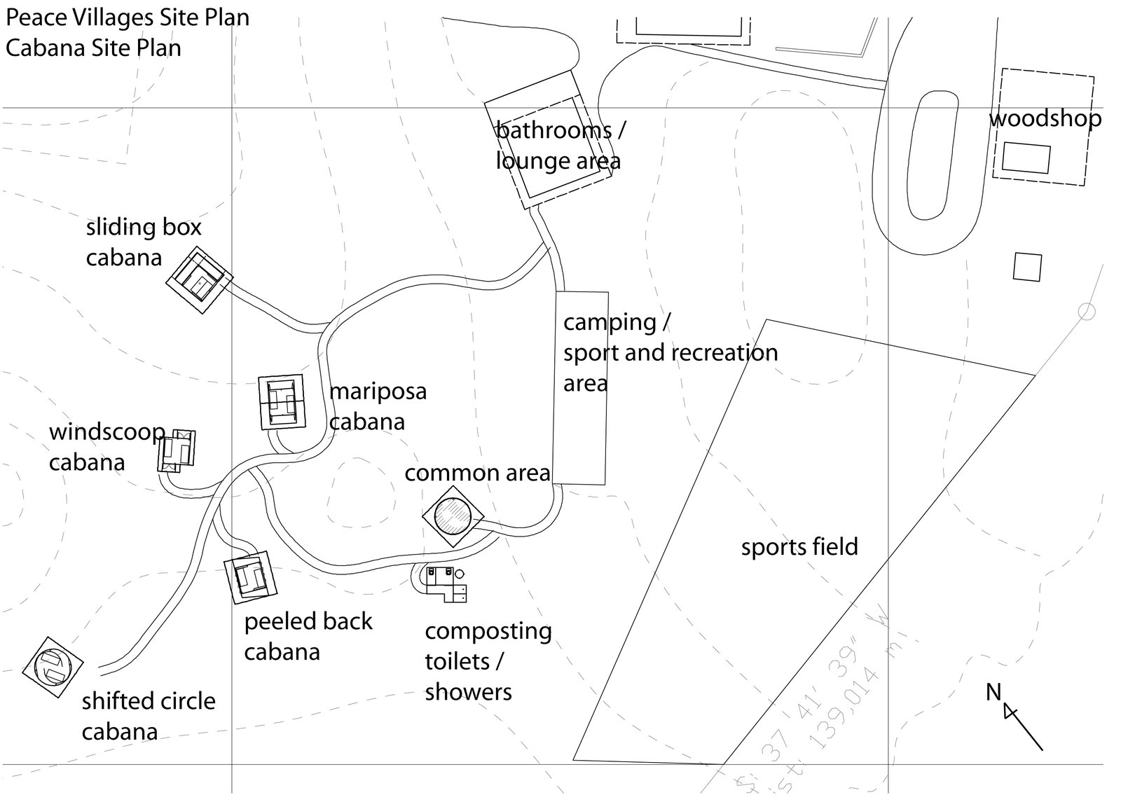 A site plan for the Peace Villages shows the placement of the cabanas and various other amenities and community areas.  Photo 11 of 13 in Venezuela's Eco Cabanas