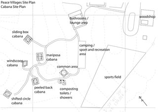 A site plan for the Peace Villages shows the placement of the cabanas and various other amenities and community areas.