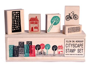 Yellow Owl Cityscape Stamps - Photo 1 of 1 -