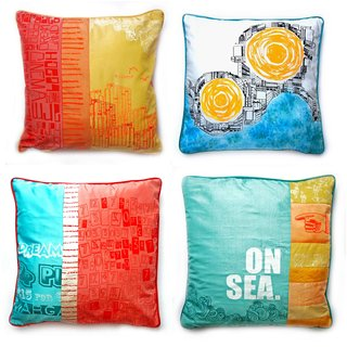 Live from London: Zoe Murphy - Photo 1 of 7 - A collection of pillows created from reclaimed silk from old dresses and screened with Murphy's seaside-inspired designs.
