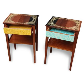 A pair of re-tooled bedside tables.