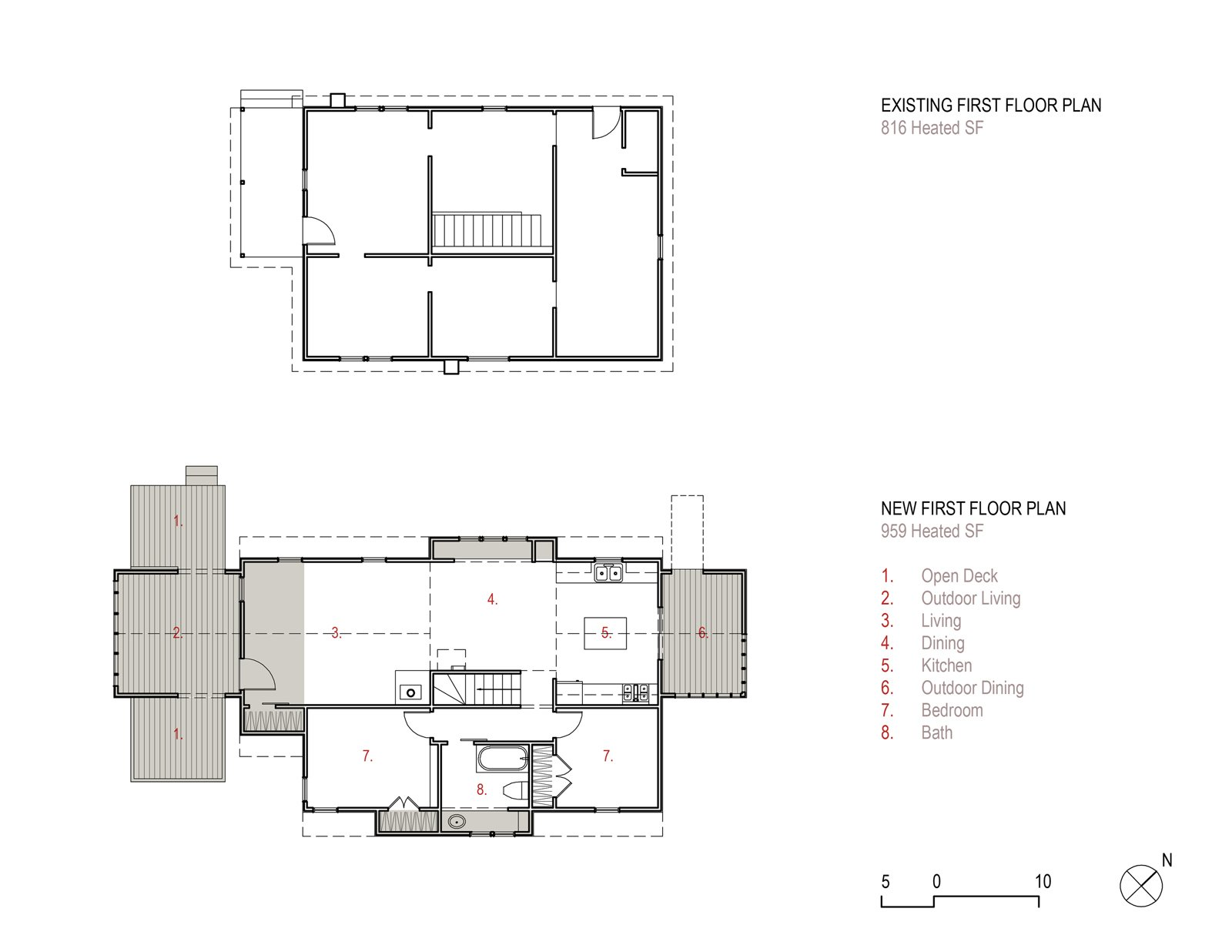"The first floor plan for ""Farmhouse Redux"" adds to the original footprint two porches and two ""bump-outs,"" or saddlebags, for additional interior space.  Photo 3 of 13 in Farmhouse Redux"