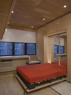 The Murphy bed in its pulled-down state is backed by mirrors from Sergi's Images Mirrors & Glass to help bounce light from the north-facing windows around the apartment. A cabinet hung at the upper left provides more storage.