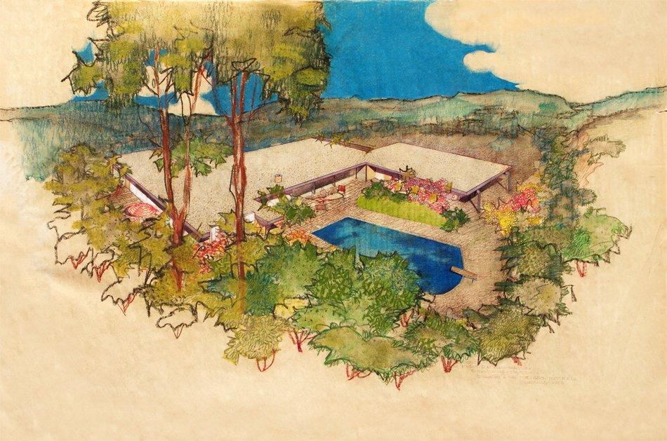 Richard Neutra: Aerial Perspective Rendering, Hammerman Residence, Bel Air, California, 1954  Photo 2 of 4 in Events this Weekend: 10.8-10.11