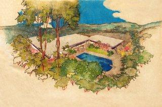 Richard Neutra: Aerial Perspective Rendering, Hammerman Residence, Bel Air, California, 1954