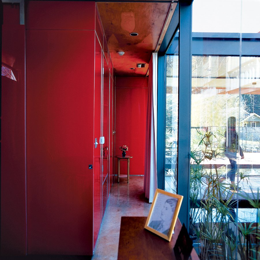 Hallway The red acrylic hallway.  Photo 4 of 21 in Red, Red, and More Red! 20 Bold Interiors That Make a Statement from Red, Wood, and Blue