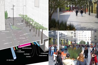 Mint Plaza in San Francsico, California, and other urban spaces designed by CMG Landscape Architecture, winner of the New Practices San Francisco 2009 competition.