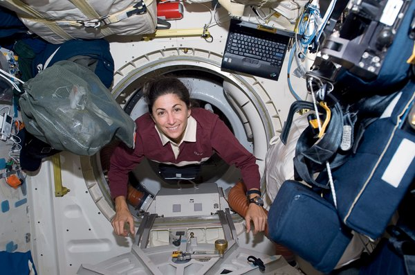 Bungee cords become your new best friends, as they harness both you and all potentially moving objects to the floors, ceilings, and walls. These elastic workhorses keep Nicole Stott's float through the station from being a literal crash course through its contents. Image courtesy of NASA.