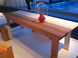 Here is a table and bench from Peter Marigold's Palindrome Series shown by the New York City gallery Moss.