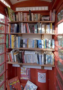 The inside of the converted phone box/library in Westbury-sub-Mendip. Photograph courtesy swns.com/ SWNS.