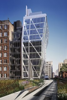 """USA Fellows Announced - Photo 1 of 8 - Completed by Neil M. Denari Architects in 2009, HL23 is a 14-floor condominium tower adjacent to The High Line at 23rd Street in New York. Collaborating architect Marc I. Rosenbaum writes: """"The project's geometry is driven by challenges to the zoning envelope on the site and by NMDA's interest in achieving complexity through simple tectonic operations.""""Photo courtesy of <br><br>Hayes Davidson"""