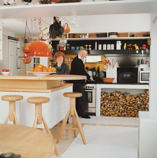 Eero and Pirkko Aarnio, in their home's kitchen, have been married for over 50 years.