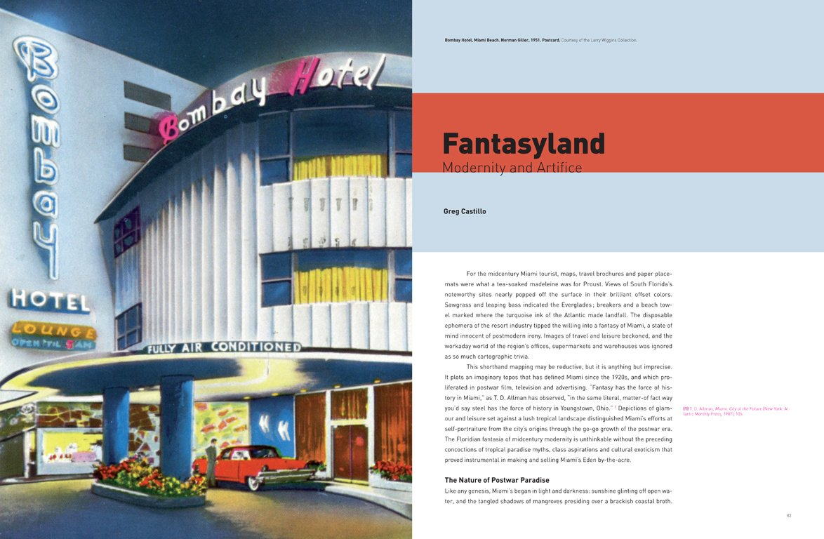 "A 1951 postcard of the Bombay Hotel on Miami Beach helps illustrate Greg Castillo's essay ""Fantasyland"" which concerns how Miami was portrayed in the mid-century media.  Photo 8 of 13 in Miami Modern Metropolis"