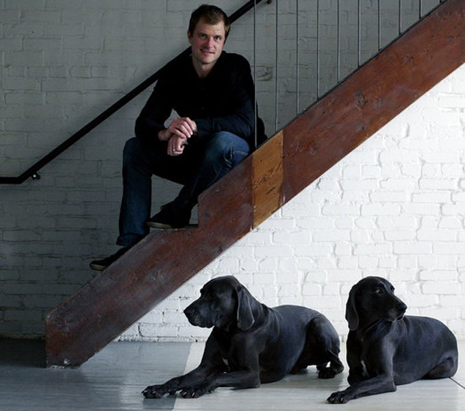 Kansas City, Missouri, architect Matthew Hufft with his dogs, Blue and Coltrane. Tagged: Staircase and Metal Railing.  Photo 23 of 25 in Leap Into the Year of the Dog With These 25 Pups in the Modern World from Architect Matthew Hufft
