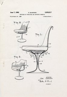 Patent drawing for pedestal chairs (1960) by Eero Saarinen, on display at the Museum of the City of New York through January 31, 2010. Image courtesy of the Eero Saarinen Collection at Yale University and the Finnish Cultural Institute in New York.