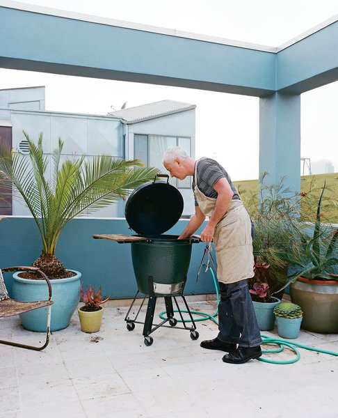 Michael tends to his capons in a Big Green Egg.  Photo 4 of 14 in Project Runaway