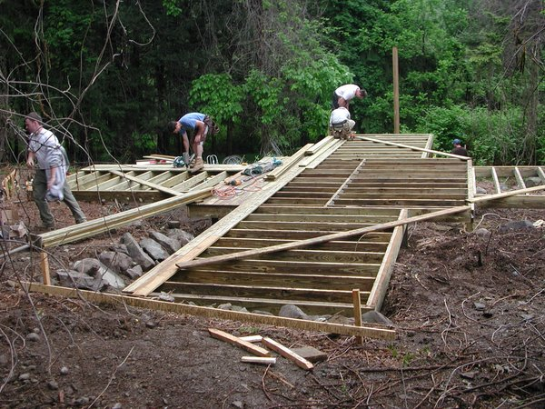 Shown here, the deck under construction.