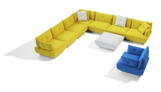 Stockholm Furniture Fair 2010 - Photo 3 of 22 - Dunder is a sectional sofa and an easy chair range designed by Stefan Borelius. We love the bright colors, playful design, and clever ability to mix and match your own sofa configuration piece by piece.