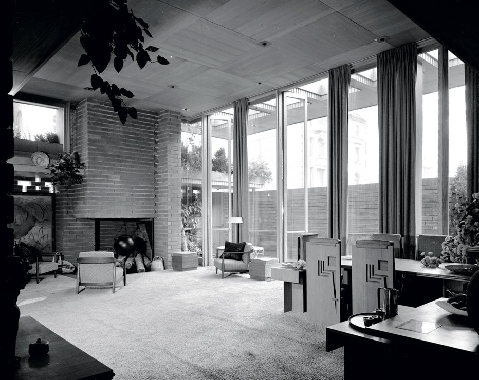 A full-scale model of a Usonian house, installed on the site of the future Guggenheim Museum, 1953.  Photo 3 of 8 in An Interview With Frank Lloyd Wright's Photographer Pedro E. Guerrero from Pedro E. Guerrero