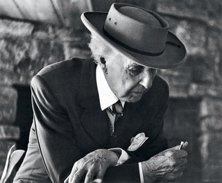 An Interview With Frank Lloyd Wright's Photographer Pedro E. Guerrero - Photo 2 of 8 - Frank Lloyd Wright at the Reisley House in Usonia, a cooperative housing development in Pleasantville, New York, 1952.