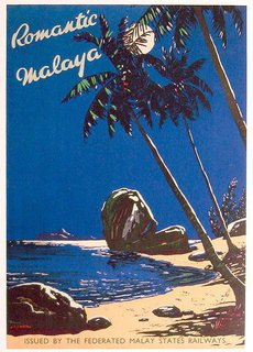 Travel poster of Malaya printed in the 30s, issued by the Federated Malay States Railways, Kuala Lumpur.