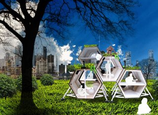 "Emerging from N55's philosophy of making art as a part of everyday life, the Walking House is the first real, modular 'walking machine' designed for living inside and for potentially forming various sizes of communities. Why make a house walk?  Why not move something easier, such as something with...wheels?  ""Because the Walking House represents a possibility for a different way of life at a slow, contemplative pace. A peaceful, nomadic existence,"" says Kronick."