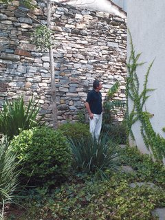 Reinaldo checks out progress in the small garden that sits behind the main living area.