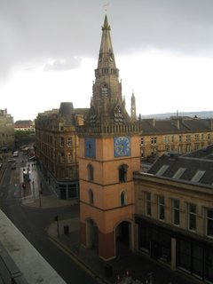 Just the view from my balcony. Nothing to fuss over. Note St. Mungo with his bird there at the eve line.