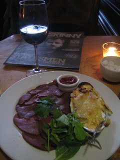 A cabernet Franc with venison and an issue of the Scottish arts tabloid the Skinny.