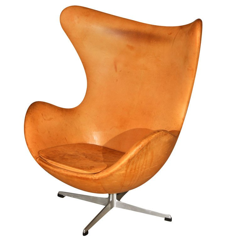 An early-edition Egg Chair, circa 1970, with original leather. By Arne Jacobsen.  Photo 6 of 10 in Favorite Chairs from Events this Weekend: 5.13-5.16