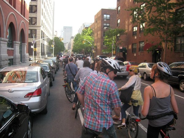 Then we headed south on Christopher street. New York motorists are learning to stay out of the bike lanes, but the cabbies could still use some training.