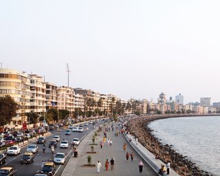 Marine Drive, also known as the Queen's Necklace, is nearly two miles long, linking the tony South Mumbai to the northern suburbs. Its seafront position sees myriad Mumbai residents out for walks and fresh coconut vendors selling their goods.