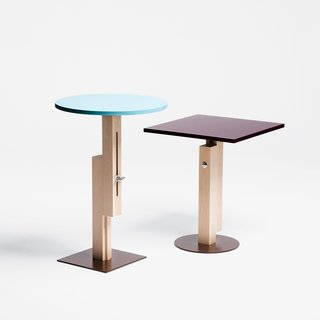 Konstantin Grcic's work is approaching its 20th year in production. His first releases, in 1991, were the Tom Tom and Tam Tam side tables for SCP Ltd. They were re-released in 2009 with sliding mechanisms on their support columns. The result? Adjustable height built in.