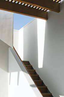 Coast Docs - Photo 6 of 13 - Sunlight and shadows accentuate the architectural forms around the stairway leading to the roof deck.