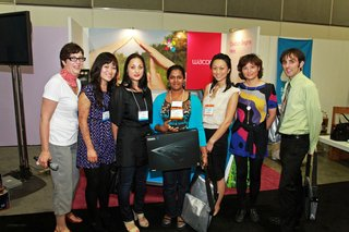 Dwell judges alongside Friday's winner Ayanthi Fernand (holding the Wacom Intuos4 tablet) and other contestants.