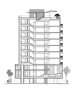 A Modern Aesthetic in Mumbai - Photo 17 of 17 - The side elevation of the building shows the seven 2,500-square-foot apartments, including the owner's two-level penthouse apartment, stacked above the common area downstairs. Image courtesy Khanna Schultz.