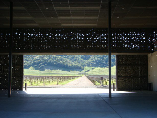 Outdoor, Trees, Shrubs, and Field Upon entering the winery, visitors are met with a minimalist hall and an unobstructed route through the structure.  Photo 4 of 9 in The Stealth Winery