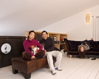 """Patrick, Cherry and Jasmine with Sage, Solo and Coco in the upstairs loft. """"This house is very modern and minimal, and though there is an abundance of beautiful architectural detailing, it's not at all flashy—it's very low-key,"""" says Wong."""